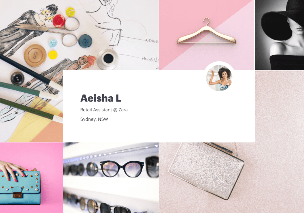 Screenshot of Aiesha L's visual CV with their employment information, featuring bright fashion and accessories related imagery. Aiesha L works as a retail assistant at Zara, based in Sydney, NSW