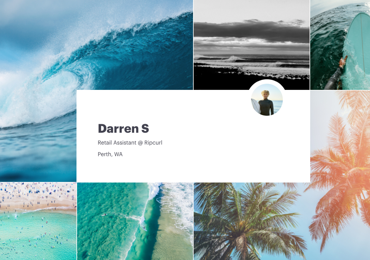 Screenshot of Darren S' visual CV with their employment information, featuring ocean and surfing imagery. Darren S works as a retail assistant at Ripcurl, based in Perth WA.
